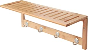 ToiletTree Products 100% Bamboo Wooden Natural Shelf with 4 Stainless Steel Hooks