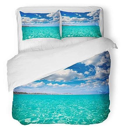 Emvency 3 Piece Duvet Cover Set Breathable Brushed Microfiber Fabric Blue Sea Denia Alicante Marineta Casiana