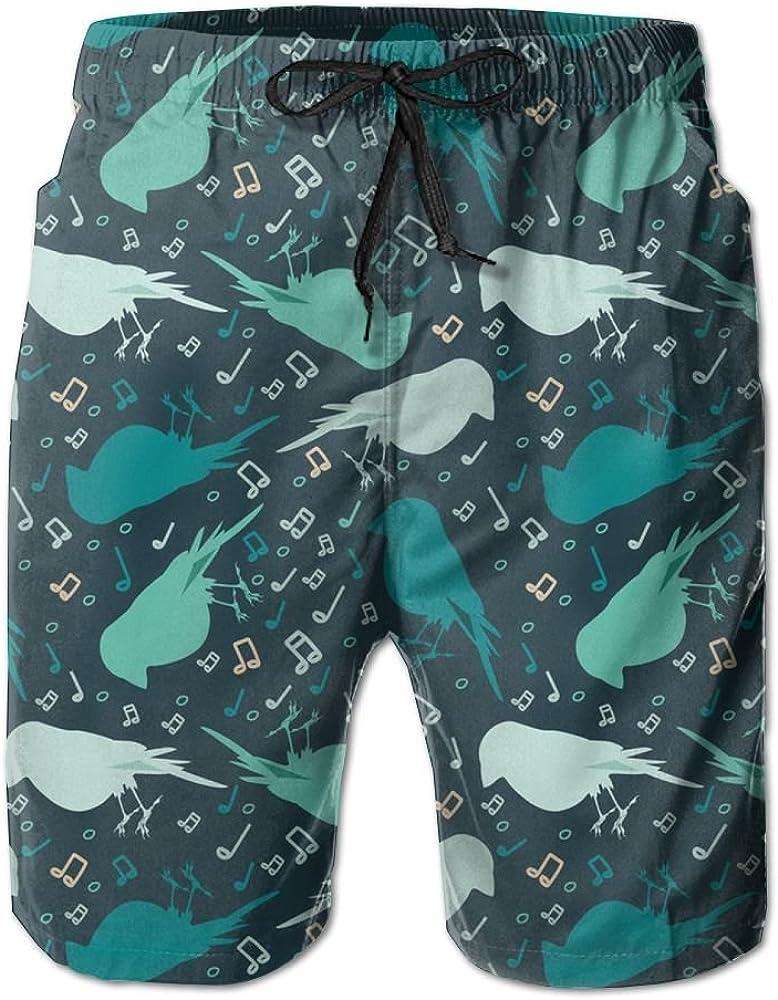 Horizon-t Beach Shorts Green Bird Mens Fashion Quick Dry Beach Shorts Cool Casual Beach Shorts