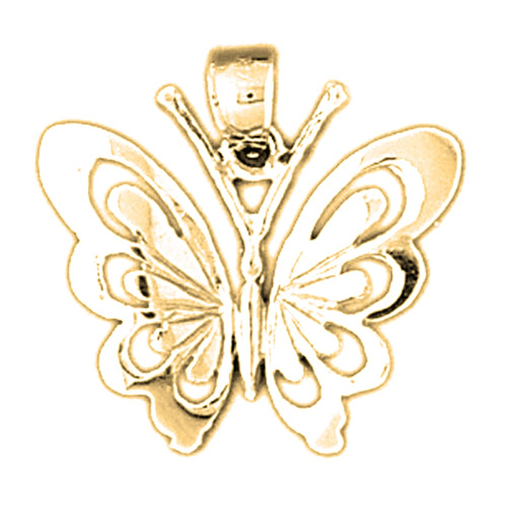 Jewels Obsession Butterfly Necklace 14K Yellow Gold-plated 925 Silver Butterfly Pendant with 18 Necklace