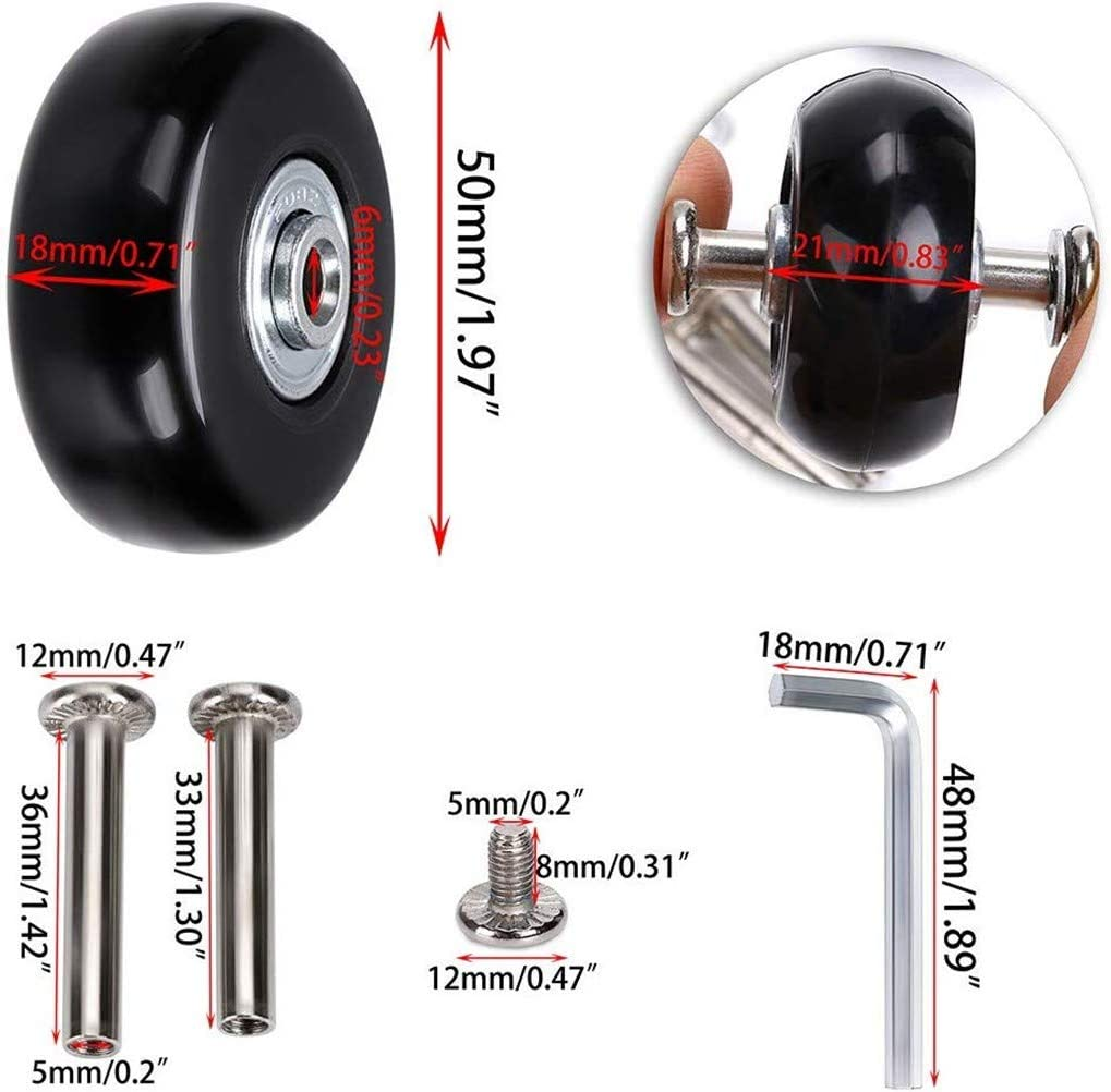 50mm Luggage Suitcase Replacement Wheels Rubber Swivel Caster Wheels Bearings Repair 4PCs Durable /& Silence