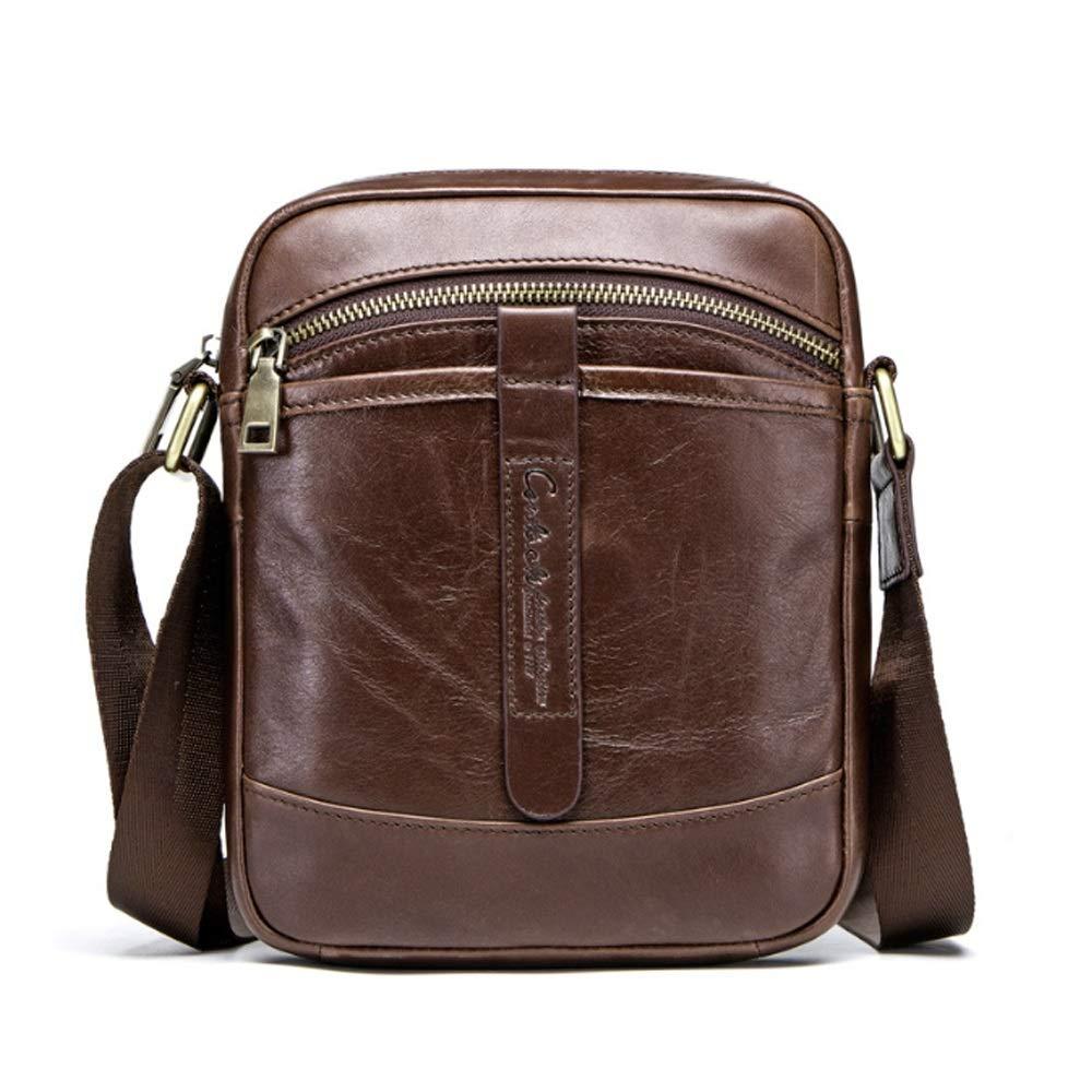 Techecho Mens Messenger Bag Mens Shoulder Crossbody Leather Bag Working Bag for Business School Gray Color : Brown, Size : M