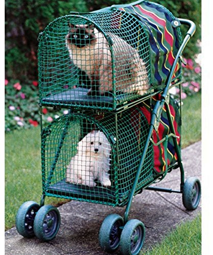 Pet Double Decker Strollers Prams For Carriage Cat & Dog Travel Carrier Strolling Cart