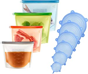 10 Pack Silicone Food Storage Bag(4Pcs) and Silicone Stretch Lids(6Pcs), Eco-Friendly Reusable Food Bags and Covers, Reusable Leakproof Freezer Bags for Meat, Fruits, Vegetables