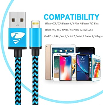 2Pack 2M Cable Cargador Phone Nylon Trenzado Cable USB de Carga R/ápida Compatible con Phone 11 Pro//11 Pro Max//Xr//Xs//X//8//8 Plus//7//6s//6Plus//6//Pad//Pod y m/ás Cable Phone,
