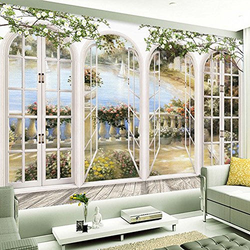 Colomac Wall Mural 3D European Style Flowers Arched Door Mural Suitable for Sofa TV Background Wall Bedroom Hotel Restaurant Coffee House Wallpaper 98.4 Inch x 78.8 Inch from colomac