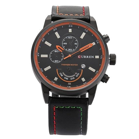 NICERIO CURREN Hombres reloj de pulsera analógico calendario fecha digital display Relojes (Negro)