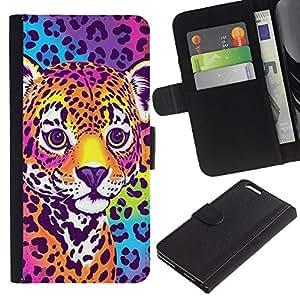 A-type (Cheetah Panther Blue Electric Fur Colors) Colorida Impresión Funda Cuero Monedero Caja Bolsa Cubierta Caja Piel Card Slots Para Apple (5.5 inches!!!) iPhone 6+ Plus / 6S+ Plus