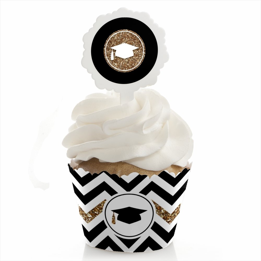 Gold Tassel Worth The Hassle - Graduation Cupcake Wrapper and Pick - Cupcake Decorating Kit - Set of 24