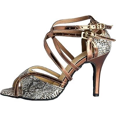 Abby Q-6132 Womens Latin Tango Cha-cha Salsa Party Shoes Ballroom Dance Custom Heel
