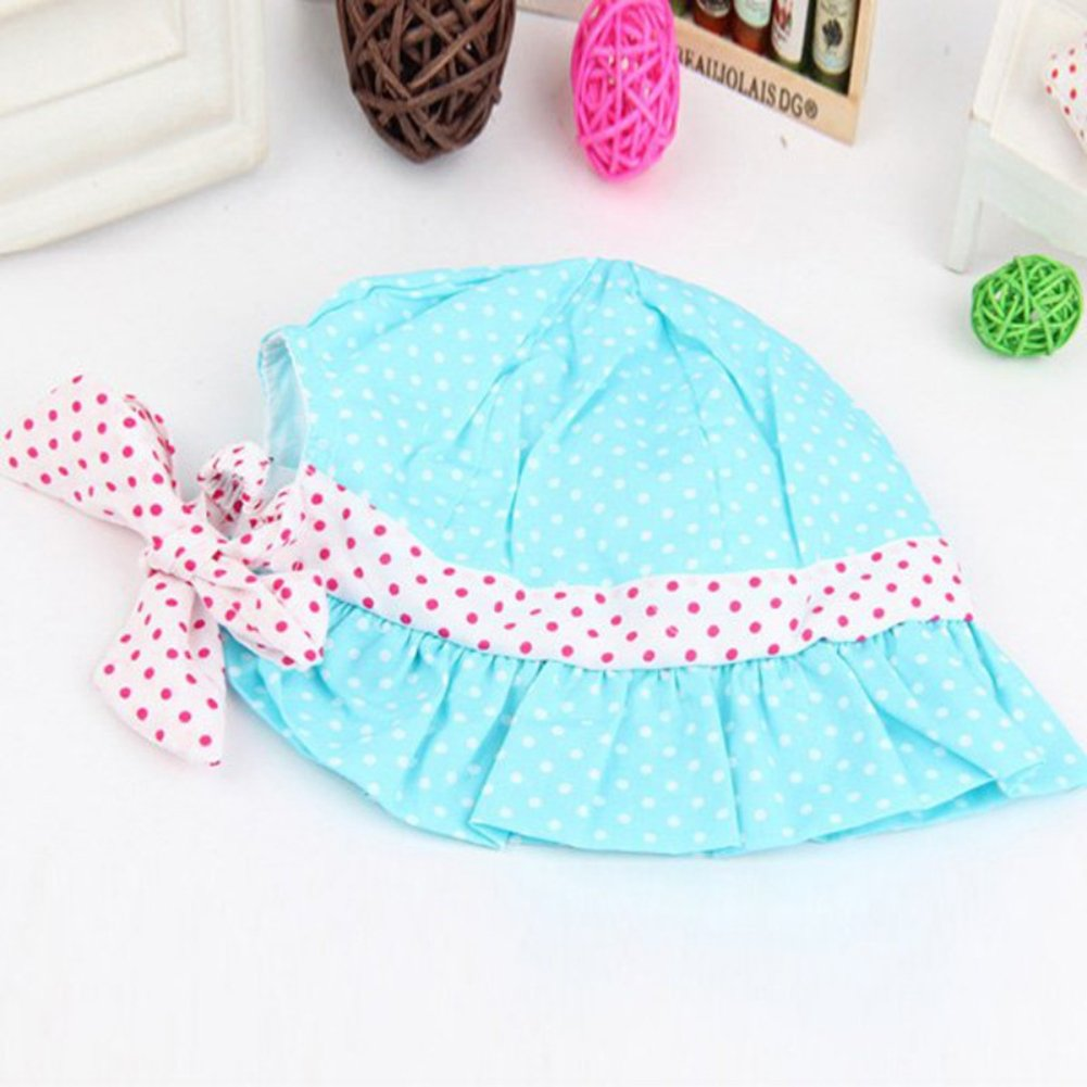 PULABO Newborn Baby Girls Cute Polka Dot Flower Bucket Sun Hat Infant Princess Cap