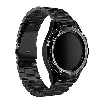 Huawei Watch 2 Reloj Banda, Dokpav® Reemplazo Pulsera de Acero inoxidable Correa de Reloj Inteligente con Tres Perlas Hebilla Diseño para Huawei Watch ...