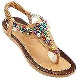 Donalworld Femmes Summer Beach Chaussures Bohemian perlée T Strap Sandales flip flops Plateforme Femme Wedges