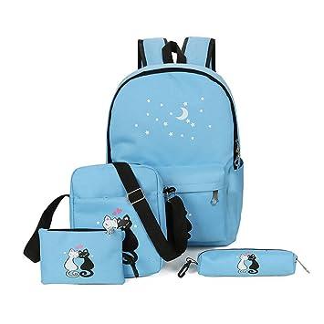 Espeedy Mochila de la escuela,4 piezas adolescentes cute gato imprimir mochila conjunto bolso unisex mochila escuela bolsos de bandolera estuche: Amazon.es: ...