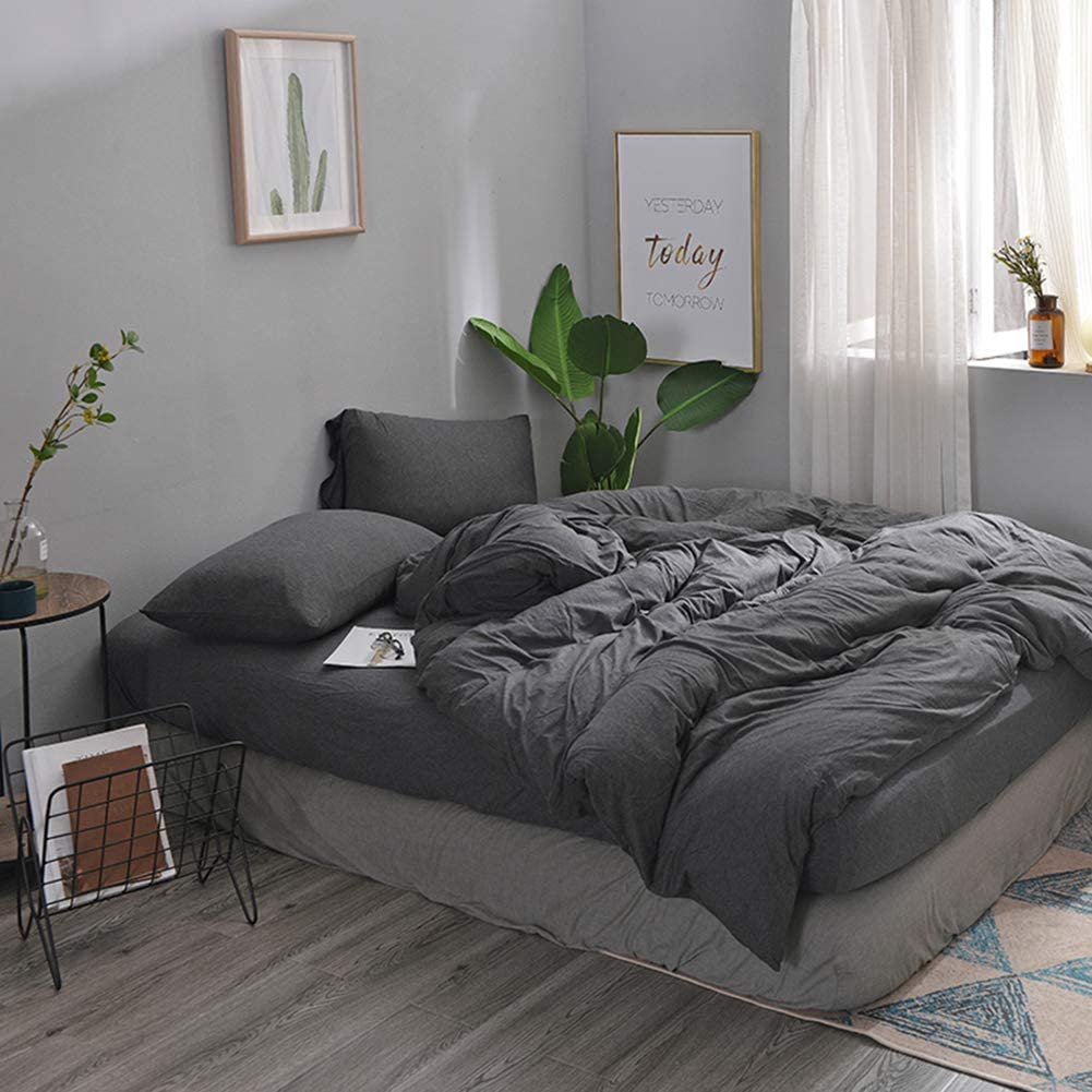 DOUH Jersey Knit Cotton Duvet Cover Queen Full Size Dark Gray Duvet Cover Set 3 Pieces, 1 Duvet Cover + 2 Pillow Shams, Ultra Soft Solid Color Simple Style Bedding Set