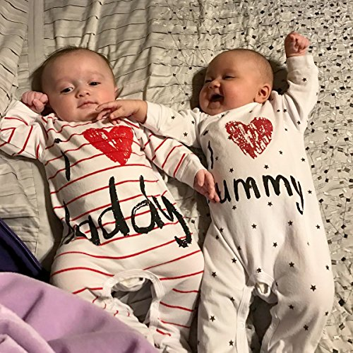 AOMOMO Unisex-Baby Newborn I Love Mummy I Love Daddy Bodysuit 2 Pack (3 Month) by AOMOMO (Image #5)