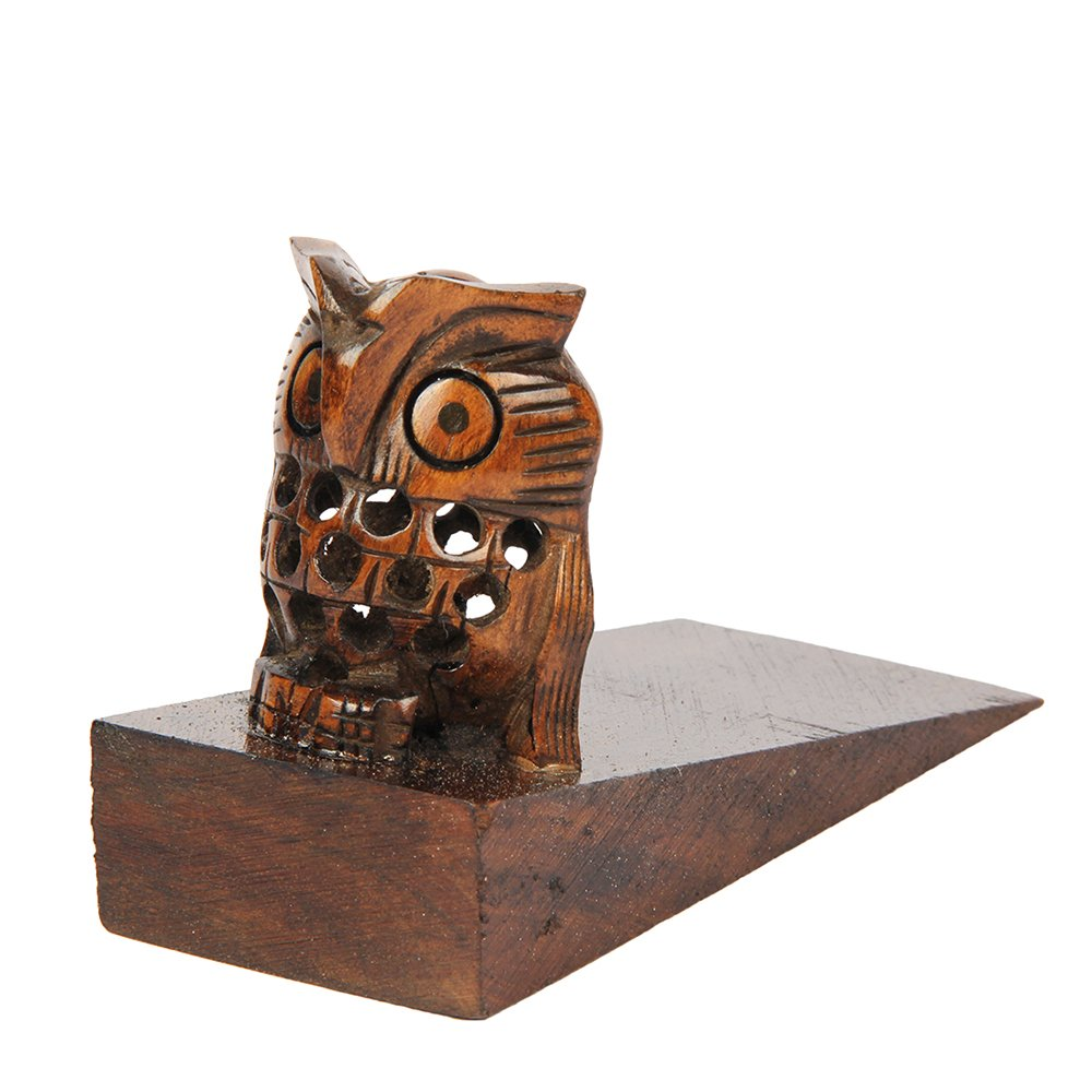 aheli Decorative Wooden Door Stopper Doorstop Holder Handcrafted in Owl Shape Floor Blocker Closer Jammer Office Furniture Accessories