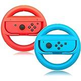 Switch Steering Wheels, Anti-Slip, Anti-Sweat Joy-Con Wheel for Nintendo Switch-Red and Blue