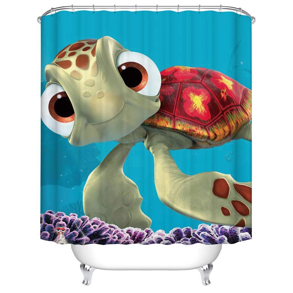 liuweidedian Tenda da Doccia Cute Cartoon Piccola Tartaruga Partizione da Bagno Tenda 3D Digital Printed Polyester Impermeabile Mapeew Proof Creative Home Decoration 90 W H Cm X180