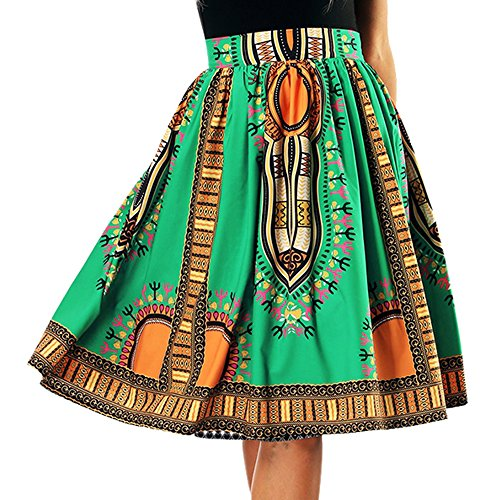 Femme Midi Jupe Imprime Plisse A-Line Jupe Ethnique Tribu Jupe Taille Haute Passion t Vert