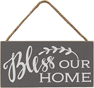 Col House Designs Bless Our Home Wooden Hanging Sign - Doorknob Signs - Rustic Modern Farmhouse Decor - Wood Signs