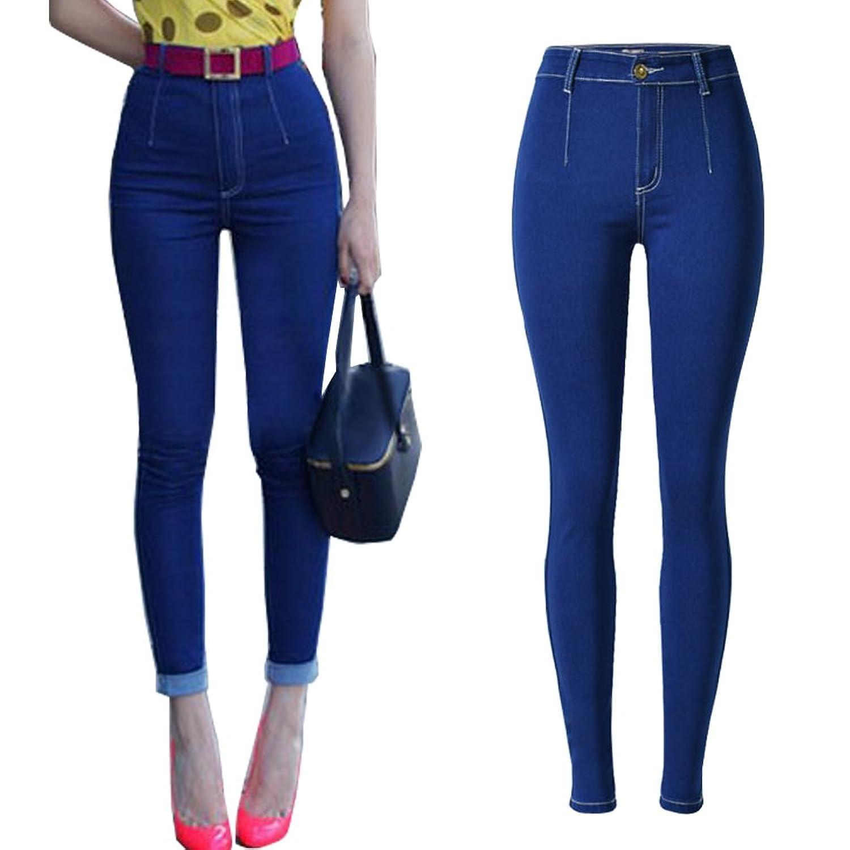 LIYT Women's Fashion Dark Blue High Waist Elastic Jeans Pencil Pants Tousers