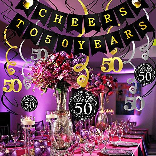 Konsait Kit Decorazione Festa Di Compleanno Di 50 Anni Striscione Cheers To 50 Years Compleanno Bandierine Festone Decorazioni Pendenti 50