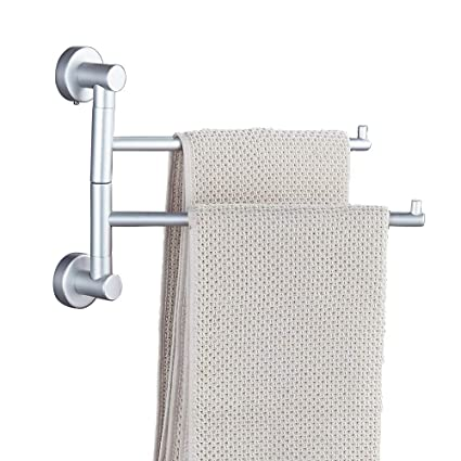 Peachy Soqo Bath Towel Holder Wall Mounted Swing Out Towel Bar Bathroom Aluminum Hand Towel Rack 2 Bar Folding Arm Swivel Hanger Aluminum 2 Bars Download Free Architecture Designs Osuribritishbridgeorg