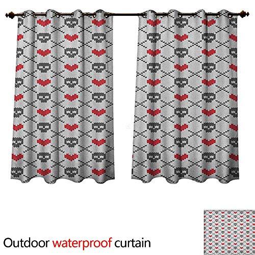 Anshesix Skull 0utdoor Curtains for Patio Waterproof Geometric Skulls and Hearts Crosses Stitch Work Knitted Nordic Pattern Print W72 x L72(183cm x - Stitch Fiona