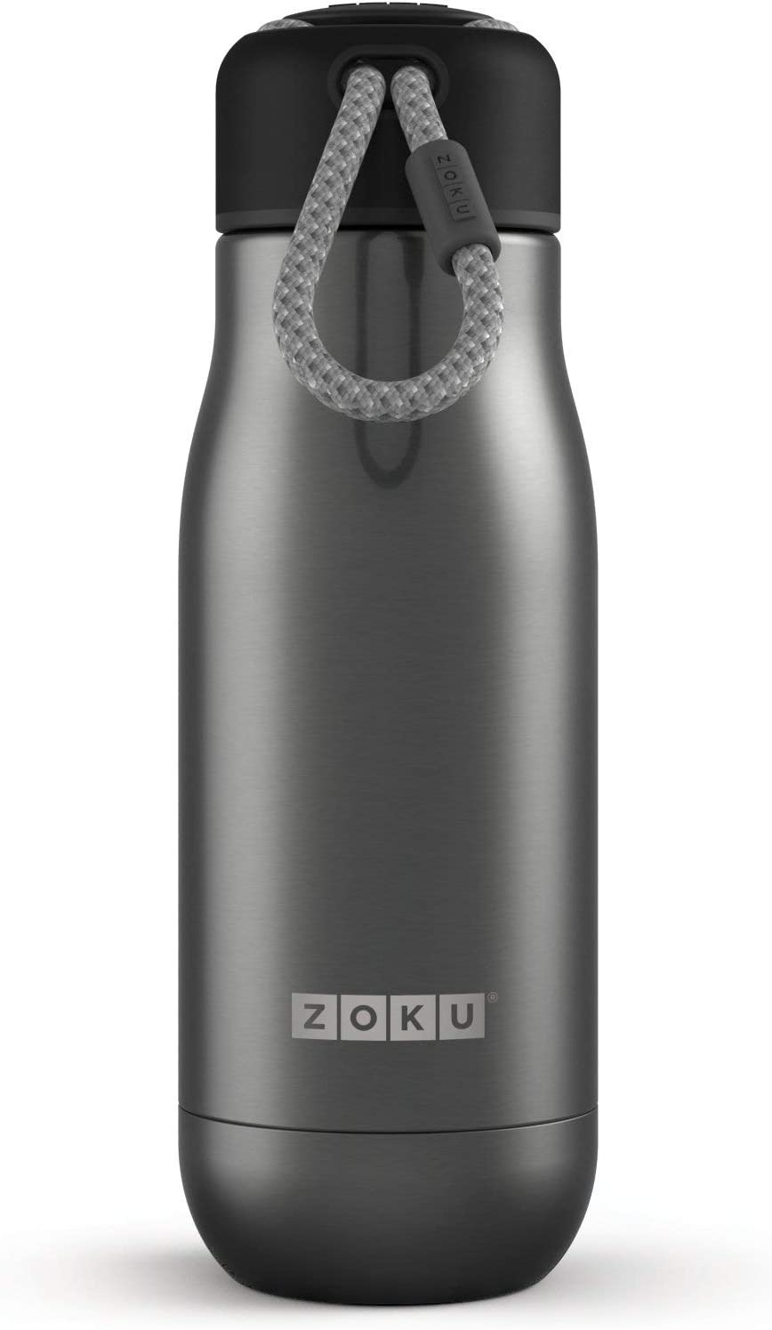 Zoku Stainless Steel Water Bottle 12-Ounce; Gunmetal; Leak-Proof & Spill Proof; Durable Paracord Lanyard Cap, Double-Walled Vacuum Insulated; Large 1-1/2-Inch Diameter Mouth Opening