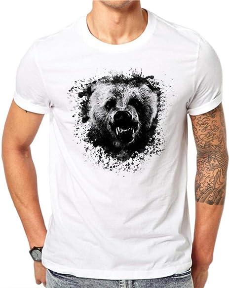FSEATEDDS 100% algodón diseño Hombres Camiseta Animal Print Hombre ...