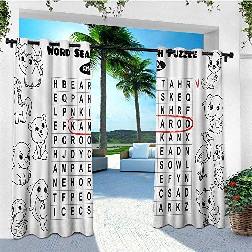 leinuoyi Word Search Puzzle, Outdoor Curtain Set, Black and White Game Sheet Design Finding The Names of Animals, Fabric by The Yard W108 x L108 Inch Black White Red