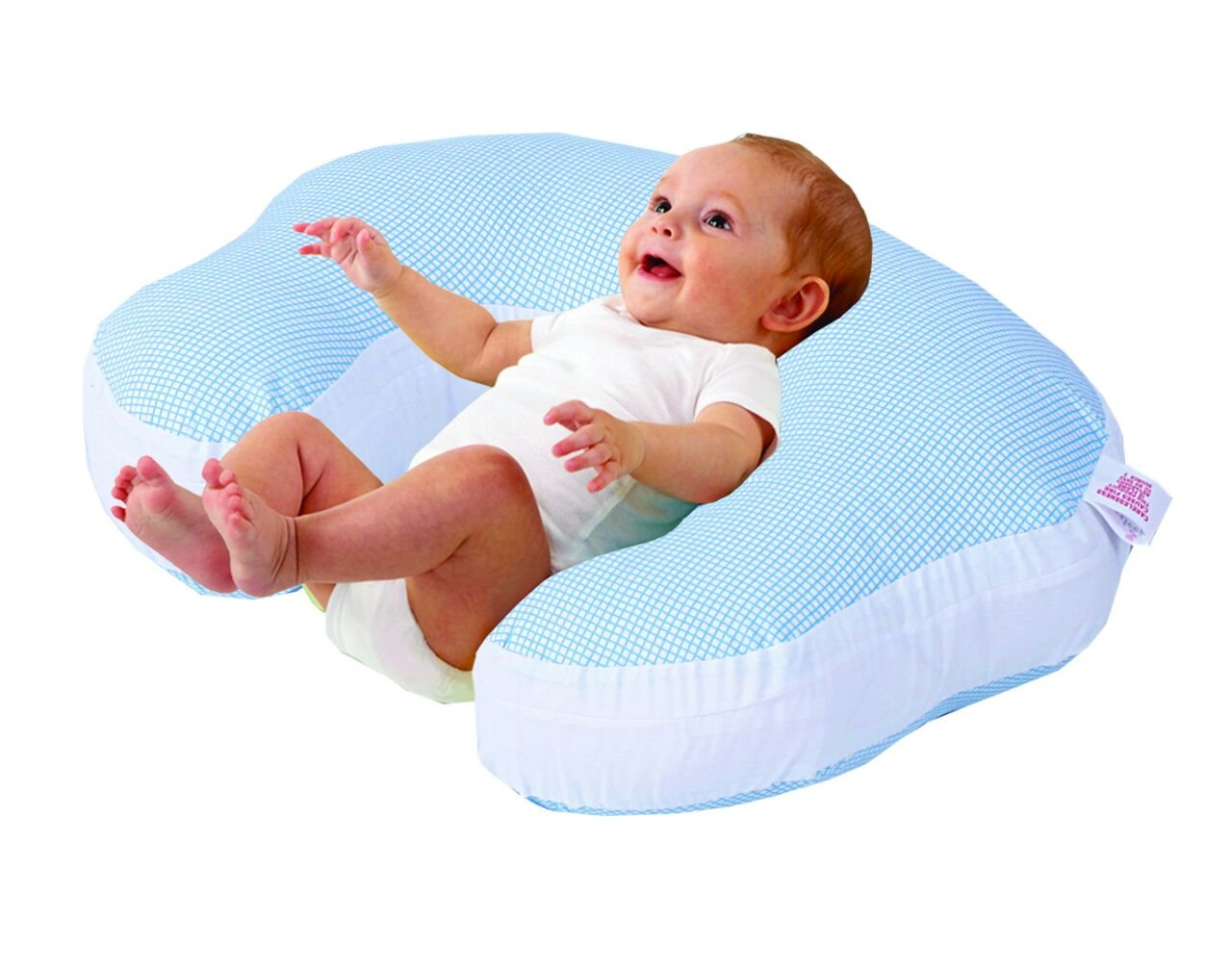 Love2Sleep BABY FEEDING/ NURSING PILLOW HOLLOWFIBRE FILLED FOR COMPLETE SUPPORT: BLUE CHECK