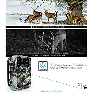 """BanffCliff Trail Camera 16MP 1080P Hunting Cam w/ 32GB microSD Card, 46PCs IR LEDs 65FT Night Vision, 120° Wide Angle HD 0.2S Trigger Time 2.4"""" LCD Screen Waterproof Wildlife Outdoor Security Monitor"""