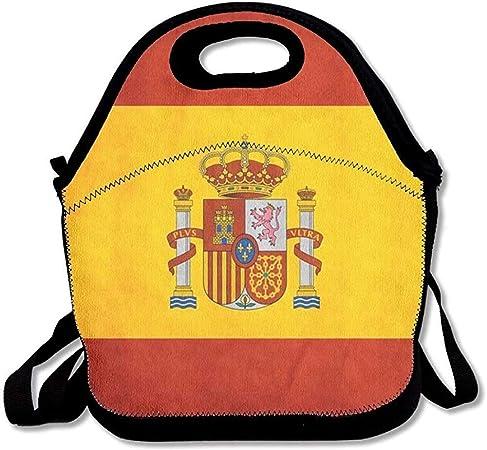 Bandera de España Bolsas de almuerzo de arte Picnic de viaje aislado Lonchera Bolso de mano con correa para el hombro Para mujeres Adolescentes Niñas Niños Adultos: Amazon.es: Hogar