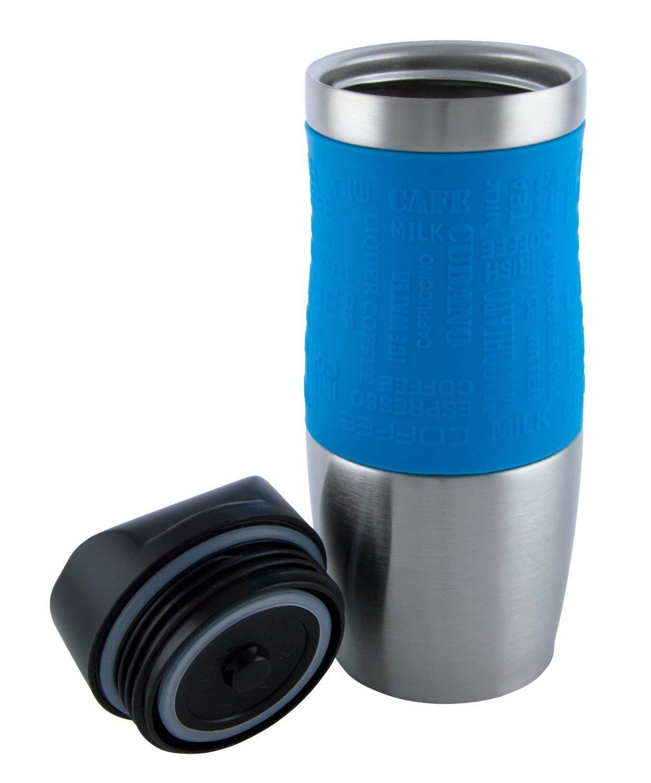 Alta qualit/à di isolamento a vuoto tazza da viaggio con una sola mano aperta e bevande 400/ml, 382,7/gram Brown doppia parete e a tenuta per qualsiasi bevanda calda e fredda H.N