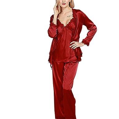 b4a849bdc006 Luxurious Women Robe Pajama Sets Faux Ladies 3 Pcs Lace Silky ...