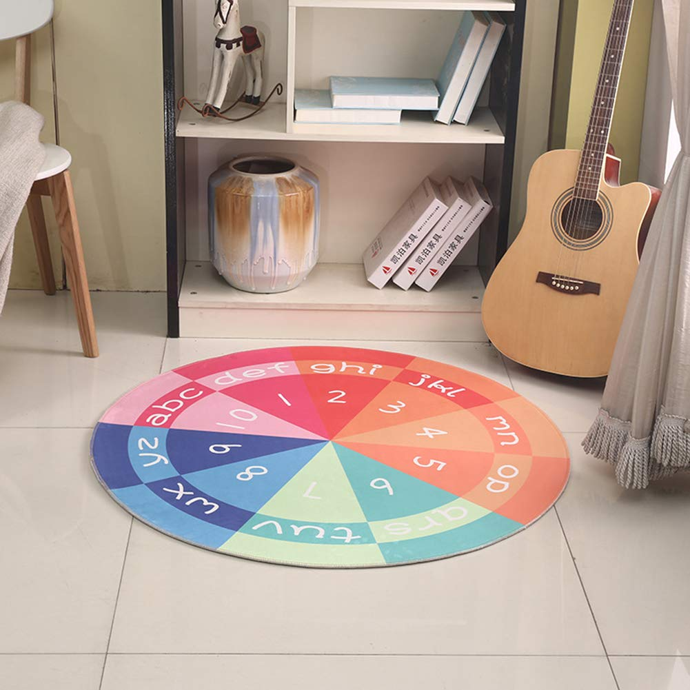 Kids Round Rugs Non Slip Soft Comfort Nursery Decoration Cute Mat in Play Room Bedroom Anti-dust
