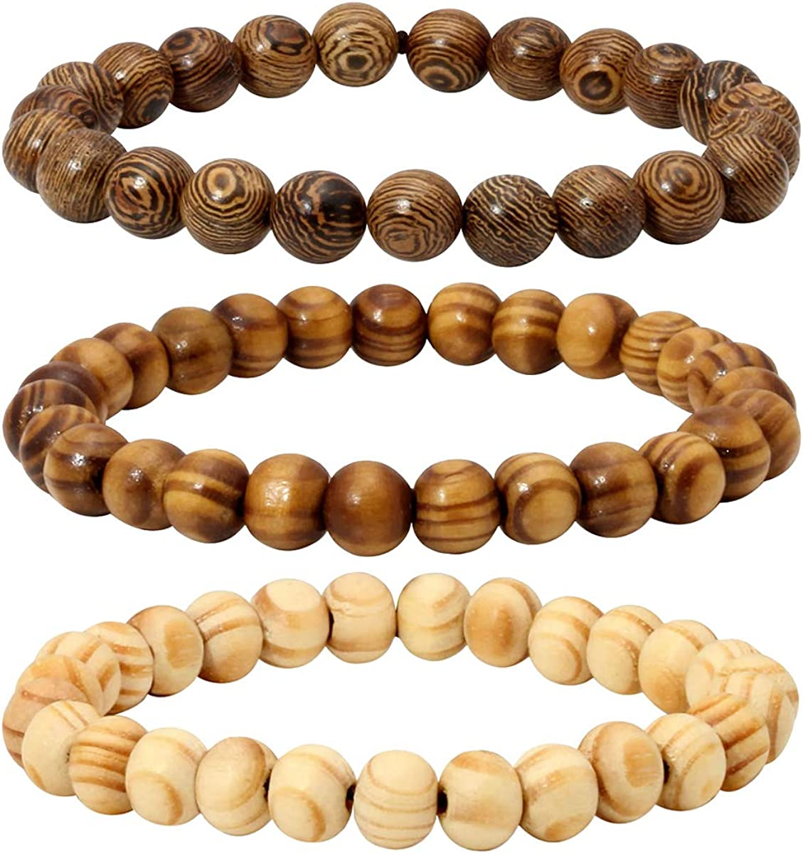 Eigso Wood Bead Bracelet Lava Rock Stone Beads Diffuser Bracelet Gemstone Aromatherapy Bracelet for Men Women