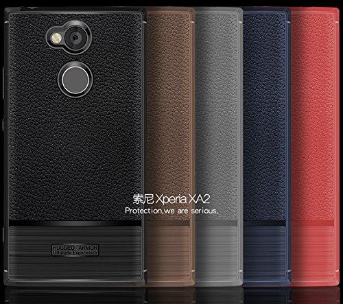 Funda Sony Xperia XA2,Funda Fibra de carbono Alta Calidad Anti-Rasguño y Resistente Huellas Dactilares Totalmente Protectora Caso de Cuero Cover Case Adecuado para el Sony Xperia XA2 D