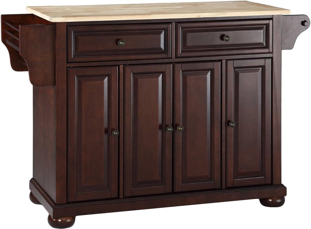 Crosley Furniture Alexandria Full Size Kitchen Island with Natural Wood Top, Mahogany