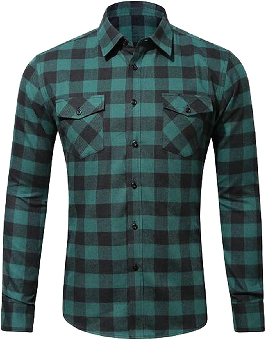 MMCP-Men Plaid Cotton Pocket Front Slim Fit Long Sleeve Dress Flannel Shirt