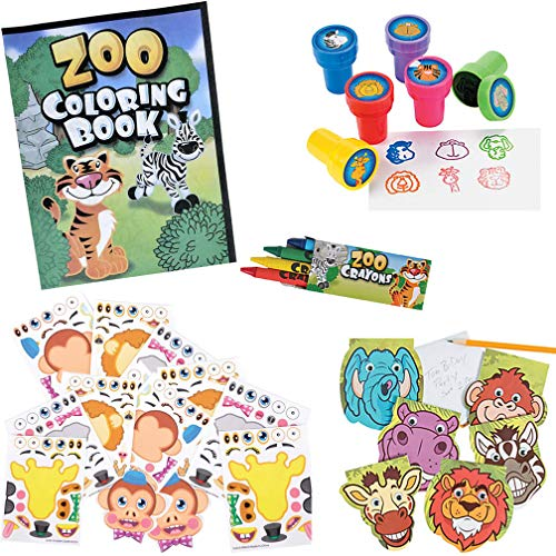 AbbyRose Zoo Animal Activity and Coloring Book Super Fun Pack | Jungle, Safari, Zoo, Noah's Ark Theme Party Favors and Supplies | Preschool, Kindergarten, 1st Grade Reading and Writing Skills