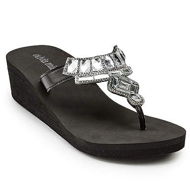 5773233377fd Amazon.com  Olivia Miller Women s Gem Rhinestone Wedge Sandals  Clothing