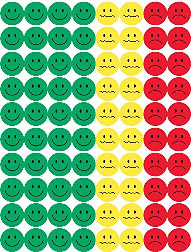 avior Stickers – Green, Yellow and Red Faces – ½ Inch, 1,200 Stickers (Kids Work Charts)