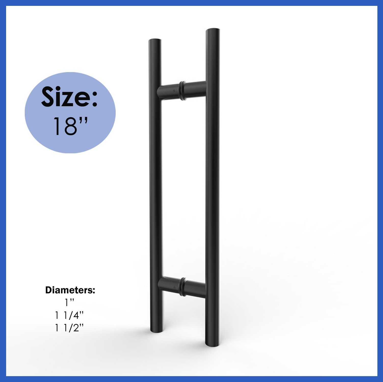 Modern & Contemporary Round Bar / Ladder/ H-shape Style 457mm / 18 Inches Push-pull Stainless-steel Door Handle - Black Powder Finish