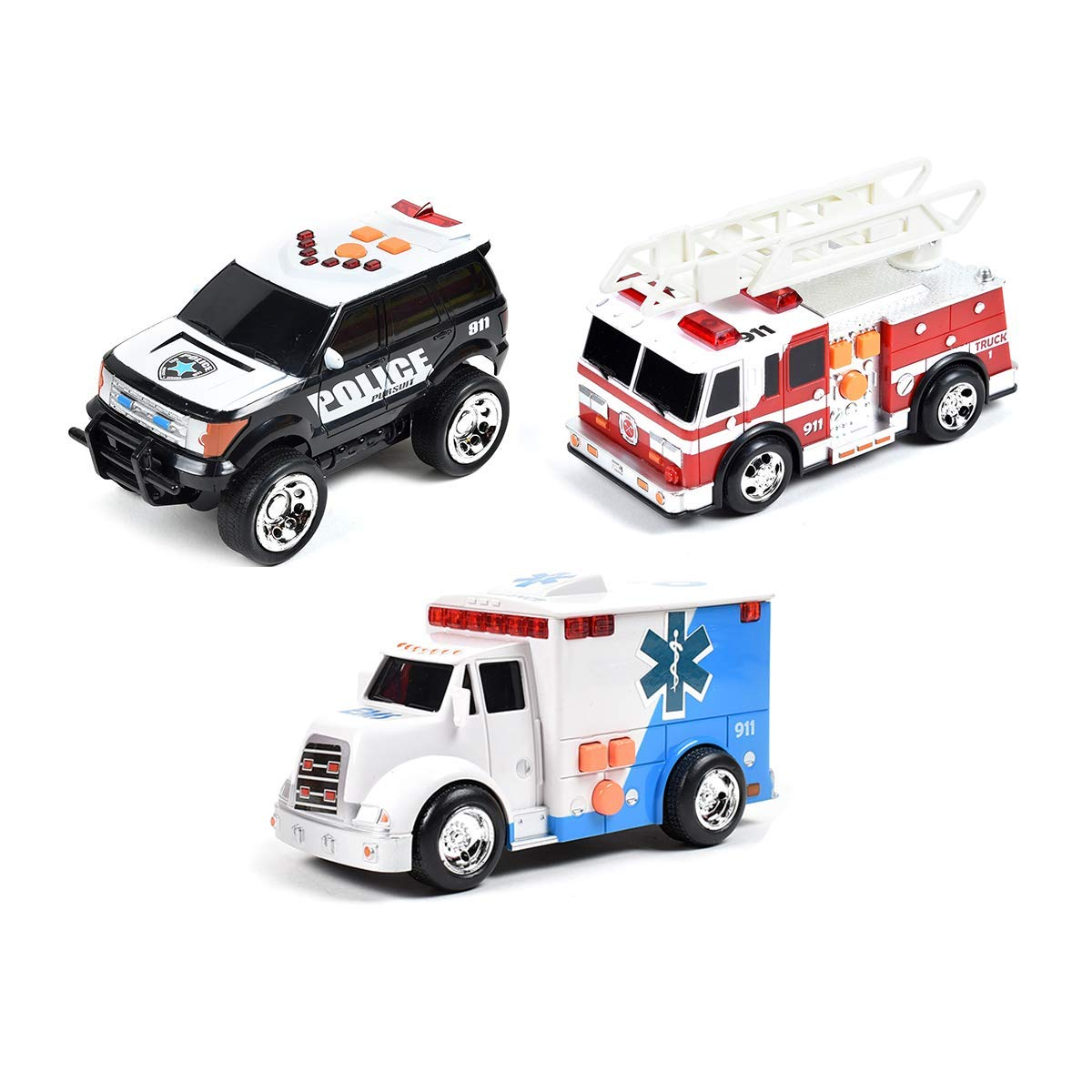 Maxx Action Mini Rescue Vehicles 3 Pack with Friction-Rev Motor, Rubber  Tires and Lights & Sounds in 8 Assorted Styles SUV, Helicopter, Fire Truck  &