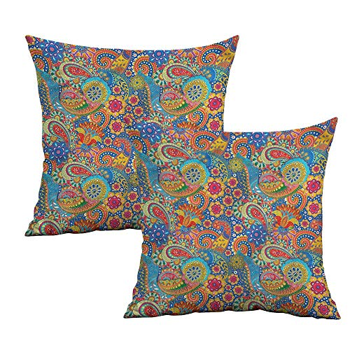 Khaki home Asian Square Pillowcase Protector Colorful Paisley Floral Art Square Pillowcase Covers Cushion Cases Pillowcases for Sofa Bedroom Car W 16