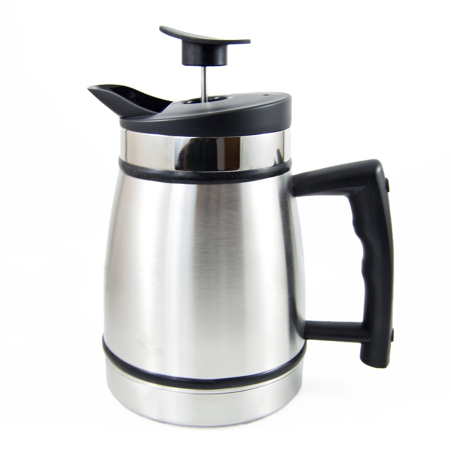 French Press Table Top Coffee and Tea Maker Carafe with Brü-Stop Technology - 32 oz - Stainless Steel - Brushed Steel