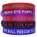 Go Go Cute Puppy- Reflective Personalized Dog Collars - Custom Embroidered Collar W/Pet Name and Phone Number - 4 Adjustable Sizes - 5 Bright Reflecting Colors for Boy and Girl Dogs